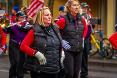 Veterans Day Parade 2017. Portland, Oregon, USA - November 11, 2017: The Beat Goes On Marching Band in the annual Ross Hollywood Chapel Veterans Day Parade, in stock images