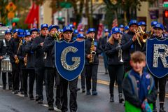 Veterans Day Parade 2017. Portland, Oregon, USA - November 11, 2017: Grant High School Marching Band in the annual Ross Hollywood Chapel Veterans Day Parade, in royalty free stock images