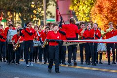 Veterans Day Parade 2018. Portland, Oregon, USA - November 12, 2018: Jackson Jaguar Marching Band in the annual Ross Hollywood Chapel Veterans Day Parade, in stock photo