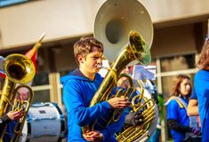 Veterans Day Parade 2018. Portland, Oregon, USA - November 12, 2018: Mt. Tabor Middle School Marching Band in the annual Ross Hollywood Chapel Veterans Day royalty free stock photos