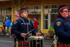 Veterans Day Parade 2017. Portland, Oregon, USA - November 11, 2017: Portland Police Highland Guard Pipe Band in the annual Ross Hollywood Chapel Veterans Day stock photos
