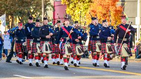 Veterans Day Parade 2018. Portland, Oregon, USA - November 12, 2018: Portland Police Highland Guard Pipe Band in the annual Ross Hollywood Chapel Veterans Day royalty free stock photo