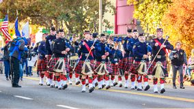 Veterans Day Parade 2018. Portland, Oregon, USA - November 12, 2018: Portland Police Highland Guard Pipe Band in the annual Ross Hollywood Chapel Veterans Day stock images