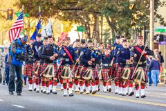 Veterans Day Parade 2018. Portland, Oregon, USA - November 12, 2018: Portland Police Highland Guard Pipe Band in the annual Ross Hollywood Chapel Veterans Day royalty free stock photos