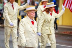 Veterans Day Parade 2017. Portland, Oregon, USA - November 11, 2017: Royal Rosarians in the annual Ross Hollywood Chapel Veterans Day Parade, in northeast stock photography