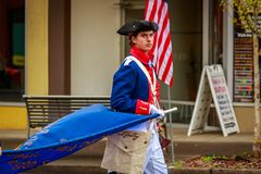 Veterans Day Parade 2017. Portland, Oregon, USA - November 11, 2017: Sons of the American Revolution in the annual Ross Hollywood Chapel Veterans Day Parade, in stock photos