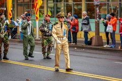 Veterans Day Parade 2017. Portland, Oregon, USA - November 11, 2017: Vietnam Veterans of Oregon in the annual Ross Hollywood Chapel Veterans Day Parade, in royalty free stock photography