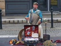 One Man Band Street Performer. Portland, Oregon,USA - October 8, 2016:  A one man band plays alongside Portland`s street car tracks in downtown Portland, Oregon Stock Images