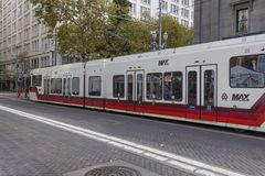 Portland Oregon Max Trail on Transit only street Royalty Free Stock Photo