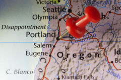 Portland Oregon USA pinned map Royalty Free Stock Image
