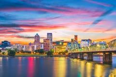 Portland, Oregon, USA Skyline. At dusk on the Willamette River royalty free stock photo