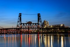 Portland, Oregon view of the Steel Bridge on the Willamette River. At spring royalty free stock photography