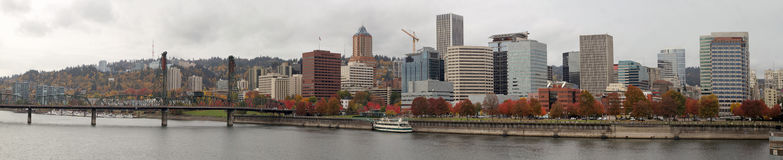 Portland Oregon Waterfront City Skyline in Fall Royalty Free Stock Photography