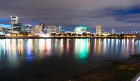 Portland Oregon Waterfront Willamette River Flowing  Royalty Free Stock Photos