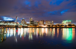 Portland Oregon Waterfront Willamette River Flowing Under Hawtho Royalty Free Stock Photography