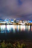 Portland Oregon Waterfront Willamette River Flowing Under Hawtho Stock Photo