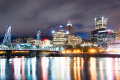 Portland Oregon Waterfront Willamette River Flowing  Stock Images