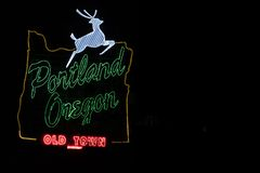 Portland, Oregon white stag sign in downtown stock photography