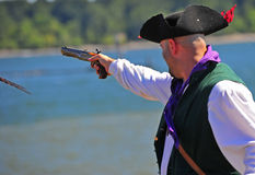 Portland OR Pirates Festival firing side arm Royalty Free Stock Photography