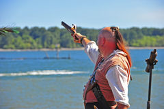 Portland OR Pirates Festival pirat firing side arm Royalty Free Stock Image