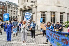 PORTLAND PLACE, LONDON/ENGLAND- 12 September 2020: NHS workers protesting outside BBC Broadcasting House
