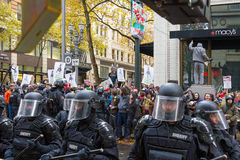 Portland Police Controlling Occupy Portland Protesters in Downto Royalty Free Stock Images