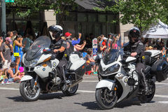 Portland Police Escorts at the Portland Grand Floral Parade Stock Images