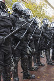 Portland Police in Riot Gear During Occupy Portland 2011 Protest. PORTLAND, OREGON - NOV 17: Police in Riot Gear Frontline in Downtown Portland, Oregon during a Royalty Free Stock Photo