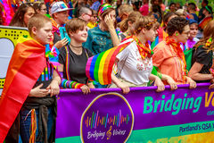 Portland Pride Parade 2017. Portland, Oregon, USA - June 18, 2017: Bridging Voices: Oregon's Only Queer Straight Allied Youth Chorus in Portland's 2017 Royalty Free Stock Image