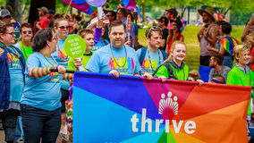 Portland Pride Parade 2017. Portland, Oregon, USA - June 18, 2017: Kaiser Permanente in Portland's 2017 Pride Parade, which reflects the community diversity royalty free stock photography