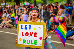 Portland Pride Parade 2017. Portland, Oregon, USA - June 18, 2017: Portland's 2017 Pride Parade reflects the community diversity Royalty Free Stock Photo