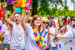 Portland Pride Parade 2017. Portland, Oregon, USA - June 18, 2017: Portland's 2017 Pride Parade reflects the community diversity stock photography