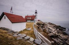 Portland Przewodzi latarnię morską w Portlandzkim Maine jest jeden Maine najwięcej sławnych dziejowych punktów zwrotnych - HDR obraz royalty free