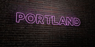 PORTLAND -Realistic Neon Sign on Brick Wall background - 3D rendered royalty free stock image. Can be used for online banner ads and direct mailers vector illustration