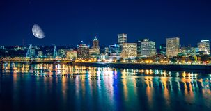 Portland Riverfront at Night Royalty Free Stock Images