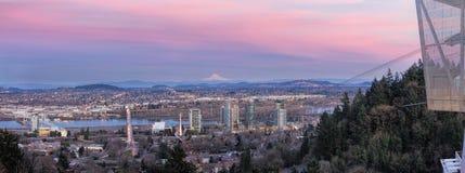 Portland-Südufergegend am Sonnenuntergang-Panorama Lizenzfreies Stockfoto