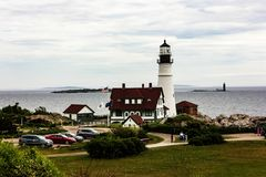 Portland-Scheinwerfer gelegen im Kap Elizabeth, Maine stockfotografie