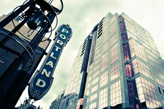 Portland Sign. Next to an office building Royalty Free Stock Images