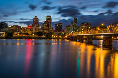 Portland Skyline Along Waterfront Royalty Free Stock Image
