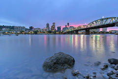 Portland Skyline along Willamette River at Dusk Stock Photos