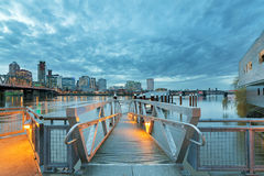 Portland Skyline along Willamette River by the Pier Stock Image
