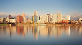 Portland skyline and beautiful sky stock photo