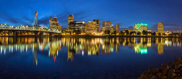 Portland Skyline during Blue Hour Panorama Stock Photos