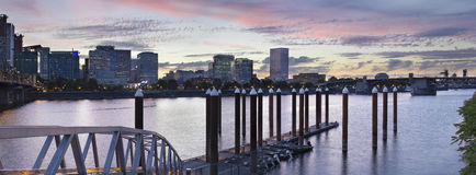 Portland Skyline by the Boat Dock at Sunset Stock Image