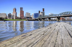 Portland Skyline from the Docks Stock Photos