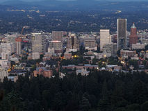 Downtown Portland Oregon City Skyline at Dusk Stock Image