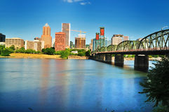 The Portland skyline from East Waterfront Royalty Free Stock Photo