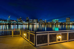 Portland Skyline from Eastbank Esplanade at Night Stock Image