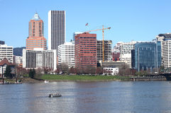 Portland OR.skyline & fishermen river. Royalty Free Stock Image