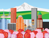 Portland Skyline Illustration Stock Images